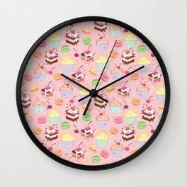 sweet pattern aka cake , cupcake and macaroon Wall Clock