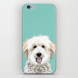Golden Doodle pet portrait art print and dog gifts iPhone Skin