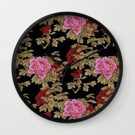 Japanese Peony Floral - Black Wall Clock