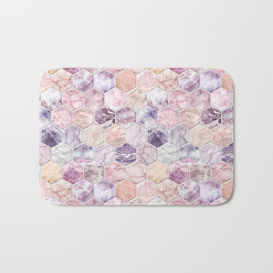 Rose Quartz and Amethyst Stone and Marble Hexagon Tiles Bath Mat