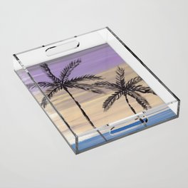 two palm trees euphoric sky Acrylic Tray