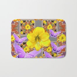 LILAC BUTTERFLIES & YELLOW AMARYLLIS FLOWERS Bath Mat