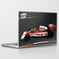 f1 Laptop & iPad Skins featuring James Hunt McLaren F1  | Car | Automotive | Formula One by Automotive Art