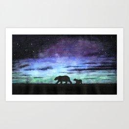 Aurora borealis and polar bears (black version) Art Print