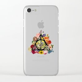 Floral Deathly Hallows - Black Clear iPhone Case