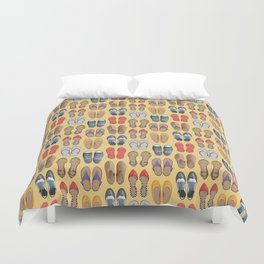 Hard choice // shoes on yellow background Duvet Cover