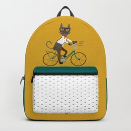 Gray hipster cat on a blue bicycle Backpack