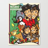 mary poppins Canvas Prints featuring Mary Poppins by Carol Wellart