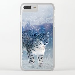 Snow Leopard In Mountain Country Clear iPhone Case