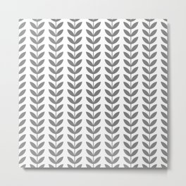 Grey Scandinavian leaves pattern Metal Print