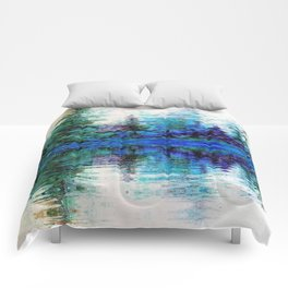 SCENIC BLUE MOUNTAIN PINES LAKE REFLECTION Comforters