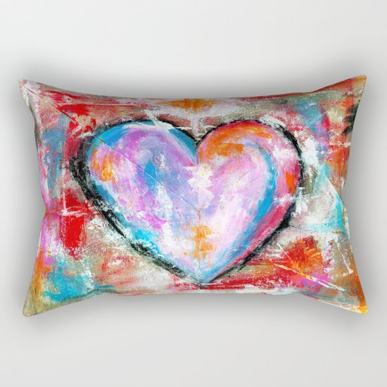 Reckless Heart, Abstract Expressionist Painting Red Pink Blue Rectangular Pillow