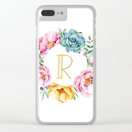 Watercolour floral initial wreath Clear iPhone Case