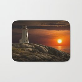 Lighthouse at Sunset in the Peggy's Cove Bath Mat
