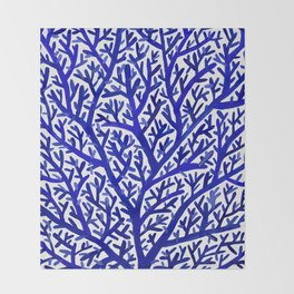 Fan Coral – Navy Throw Blanket