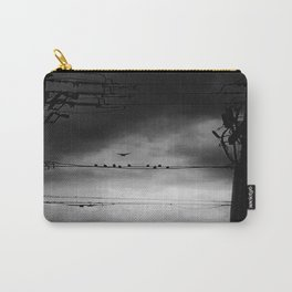 Black and White Birds on a Wire Carry-All Pouch