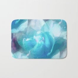 Turquoise abstracted tulips Bath Mat