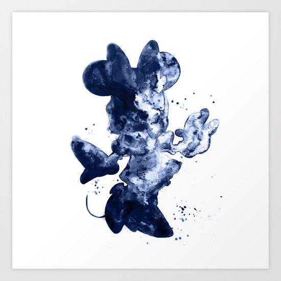 Minnie Mouse dark blue Art Print