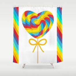 Valentine's Day Heart shaped candy lollipops with bow, colorful spiral candy cane with rainbow Shower Curtain
