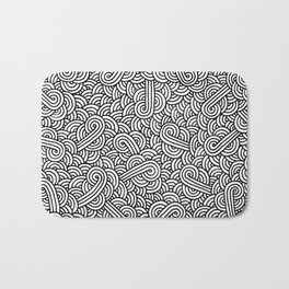 Black and white swirls doodles Bath Mat