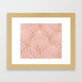 Rose gold millennial pink blooms Framed Art Print