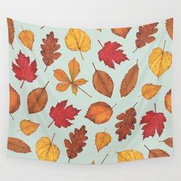 Autumn Leaves Illustration Pattern | Pale Green Leaves Pattern | Oak Linden Maple pattern Wall Tapestry