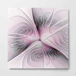 Fantasy Flower, Pink And Gray Fractal Art Metal Print