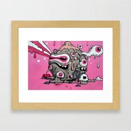 Urban Street Art: Pink Oozing Eye Creature (Buff Monster) Framed Art Print
