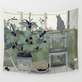 Indoor Garden With Fig Tree Wall Tapestry