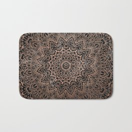 Mandala - rose gold and black marble 3 Bath Mat