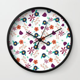 Purple Orange Blue Flower Pattern Wall Clock