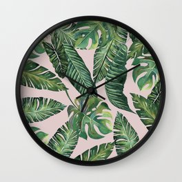 Jungle Leaves, Banana, Monstera Pink #society6 Wall Clock