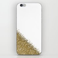 gold glitter iPhone & iPod Skins featuring Glitter by lescapricesdefilles