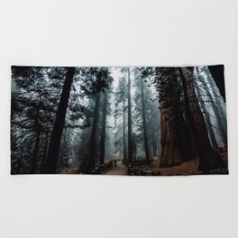 Lost in the Foggy Forest Beach Towel