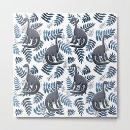 Modern Dinosaur Pattern - Blue Metal Print