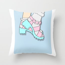 Pastel Pumps Art - Retro 90's Shoes Throw Pillow