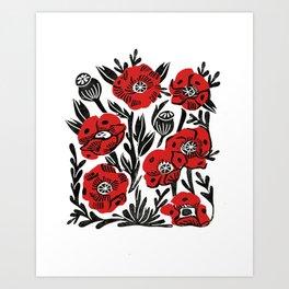 Poppies - linocut art,, linocut, woodcut, woodblock, floral art, poppies, poppy art, andrea lauren Art Print