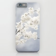Floral Spring Nature Photography, Blue Grey White Flower Branches iPhone 6s Slim Case