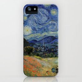 Poppy Fields + Starry Night | Collage 2.0 by Kristi Duggins iPhone Case