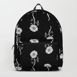 Linocut floral Rose pattern flowers carving printmaking Backpack