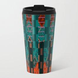 Abstract Geometric Glitch Green Neon Hyperspace Travel Mug