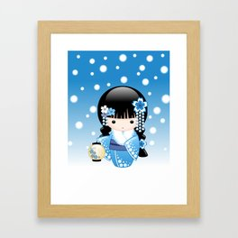 Japanese Winter Kokeshi Doll Framed Art Print