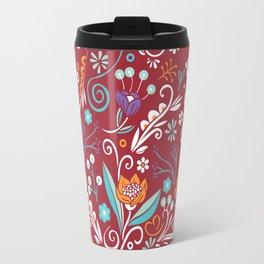 Flower circle pattern, red Travel Mug