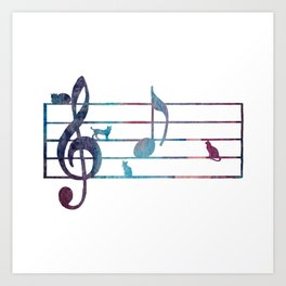 Musical Note With Cats Art Print