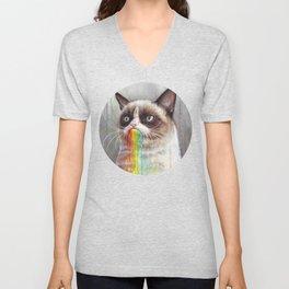 Cat Tastes the Grumpy Rainbow Unisex V-Neck