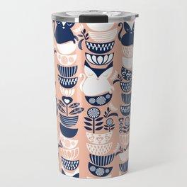 Swedish folk cats V // flesh background Travel Mug