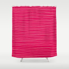 Hand Drawn Lines Coral Shower Curtain
