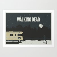 the walking dead Art Prints featuring Walking Dead by Brandon Riesgo
