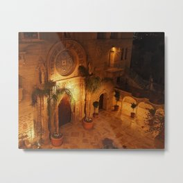 St. Francis of Assisi Chapel at Night, The Mission Inn Metal Print