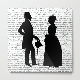 Pride and Prejudice design - White Metal Print